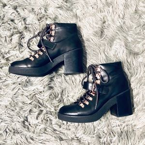 Topshop Lace Up Bootie with Chunky Heel